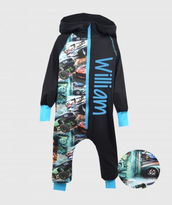 OnePiece Jumpsuit Racing Cars Black/Blue