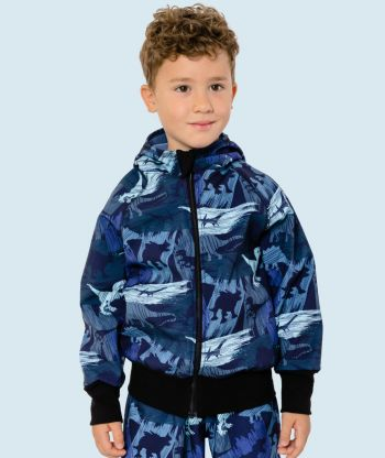 Waterproof Softshell Hoodie Dino Shadows Blue
