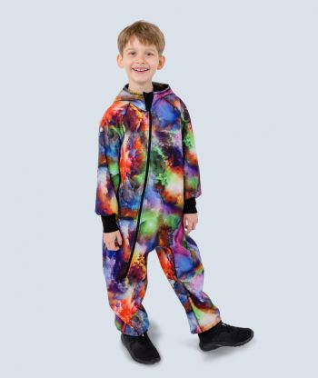 Waterproof Softshell Overall Comfy Rainbow Clouds Jumpsuit