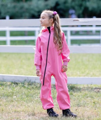 Waterproof Softshell Overall Comfy Pink Striped Cuffs Jumpsuit