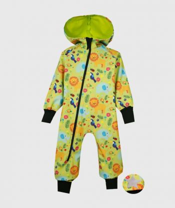 Waterproof Sofshell Overall Comfy Jungle Drawings Jumpsuit
