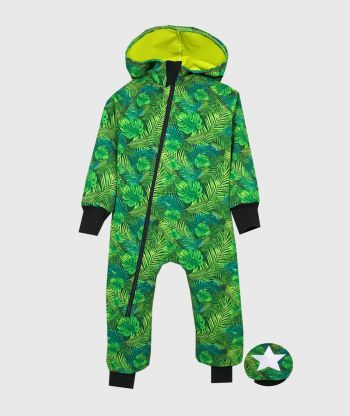 Waterproof Softshell Overall Comfy Green Plants Jumpsuit