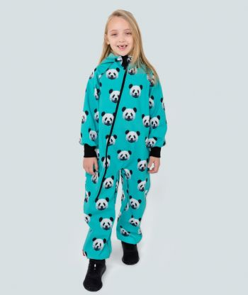 Waterproof Softshell Overall Comfy Pixel Panda Mint Jumpsuit