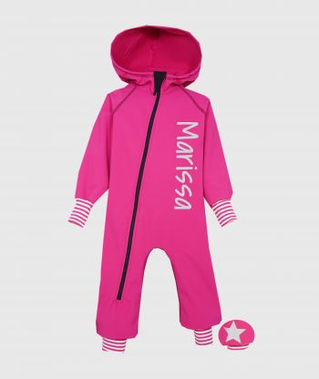 Waterproof Softshell Overall Comfy Rose Striped Cuffs Jumpsuit